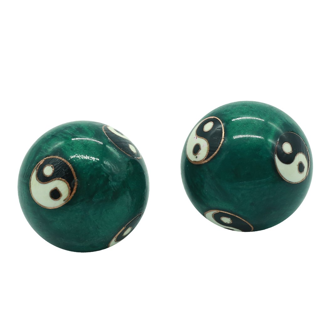 1.5'' Cloisonne Health Hand Balls Carved Tai Chi Pattern Exercise Stress Balls Craft Collection BS142 (S, Green)