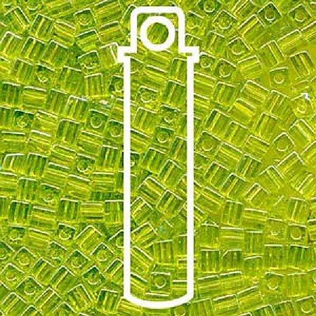 20 Grams Transparent Rainbow Lime Miyuki 4mm Square Cube Japanese Glass Seed Beads - Miyuki Lime Green Transparent Beads