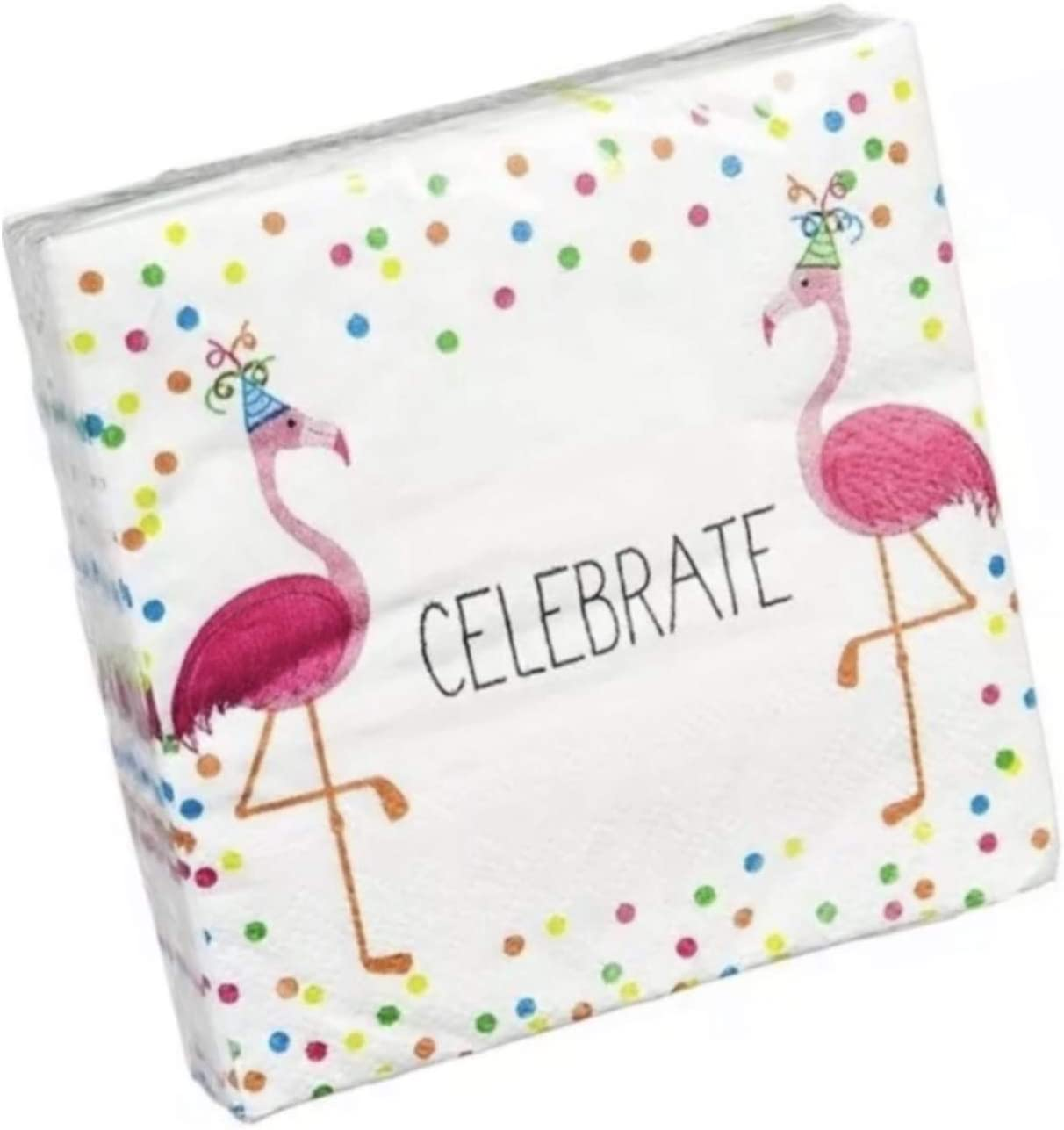 Cypress Home Flamingos Celebrate Birthday Cocktail Beverage Paper Napkins, 40 ct