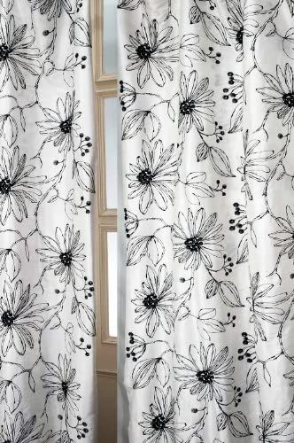 Charcoal drawing embroidered blended silk curtain 52 W X 120 L