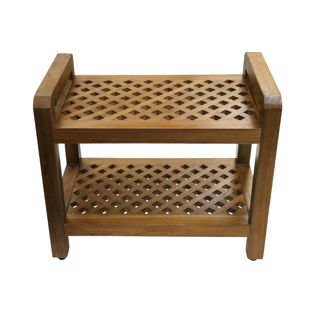 ALATEAK Shower Seat Bench with Storage Shelf for Seating, Support & Relaxation, Spa Bath Bench Stool Perfect for Indoor or Outdoor Use
