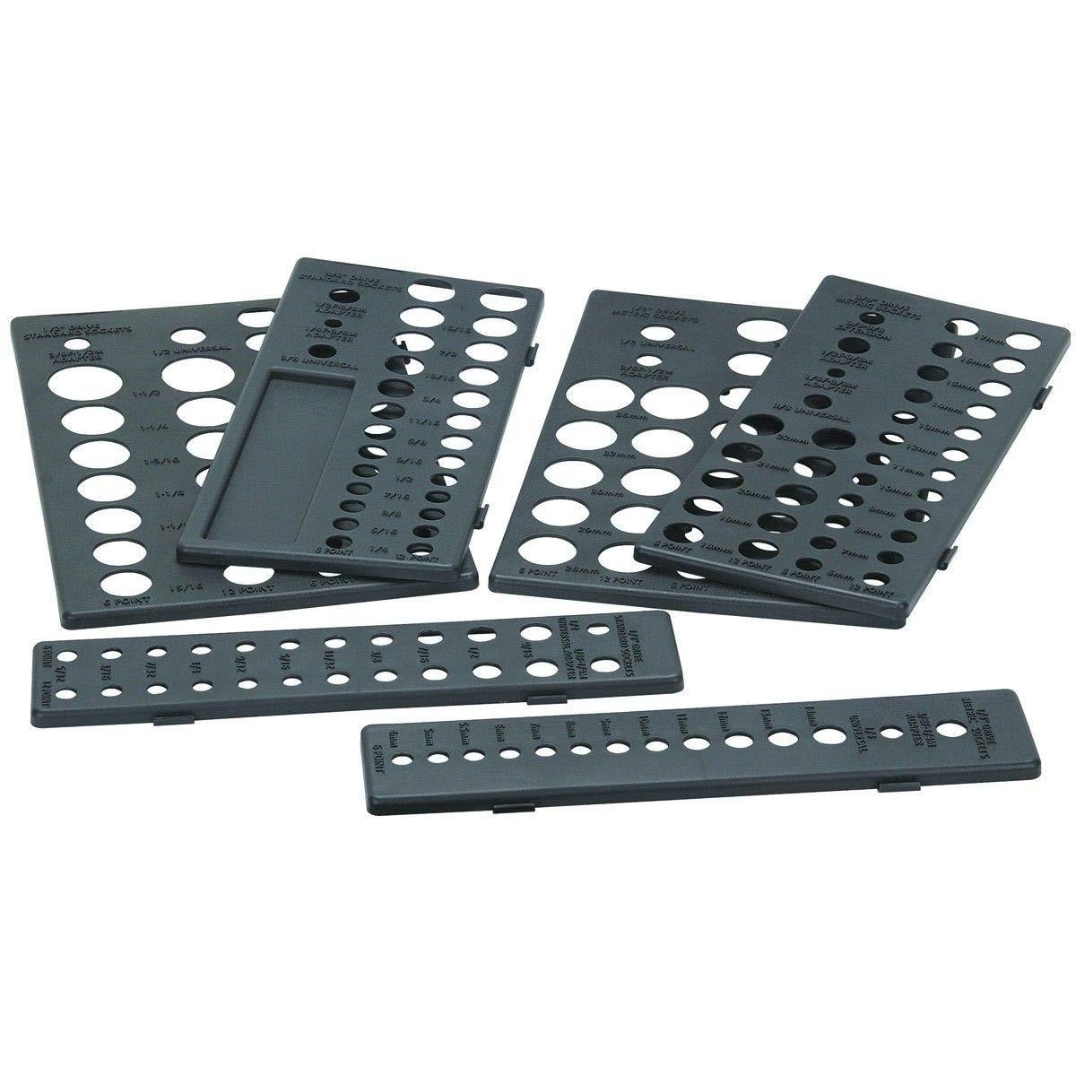 RX-789 Plastic Metric SAE Socket Holder Holding Rack Drawer Organizer for Tool Box Black