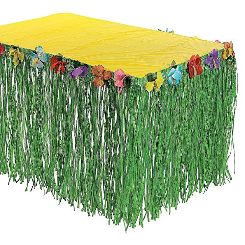 Sc0nni Hawaiian Luau Hibiscus Green & Colorful Silk Faux Flowers Table Hula Grass Skirt for Party Decoration, Events, Birthdays, Celebration, 9' x 29'' by Sc0nni (Image #3)