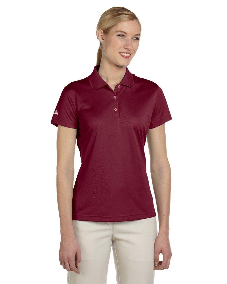 adidas Women's Performance Rib Knit Collar Polo Shirt, Small, Cardinal