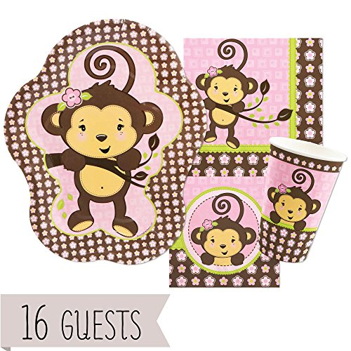 (Big Dot of Happiness Pink Monkey Girl - Baby Shower or Birthday Party Tableware Plates, Cups, Napkins - Bundle for 16)