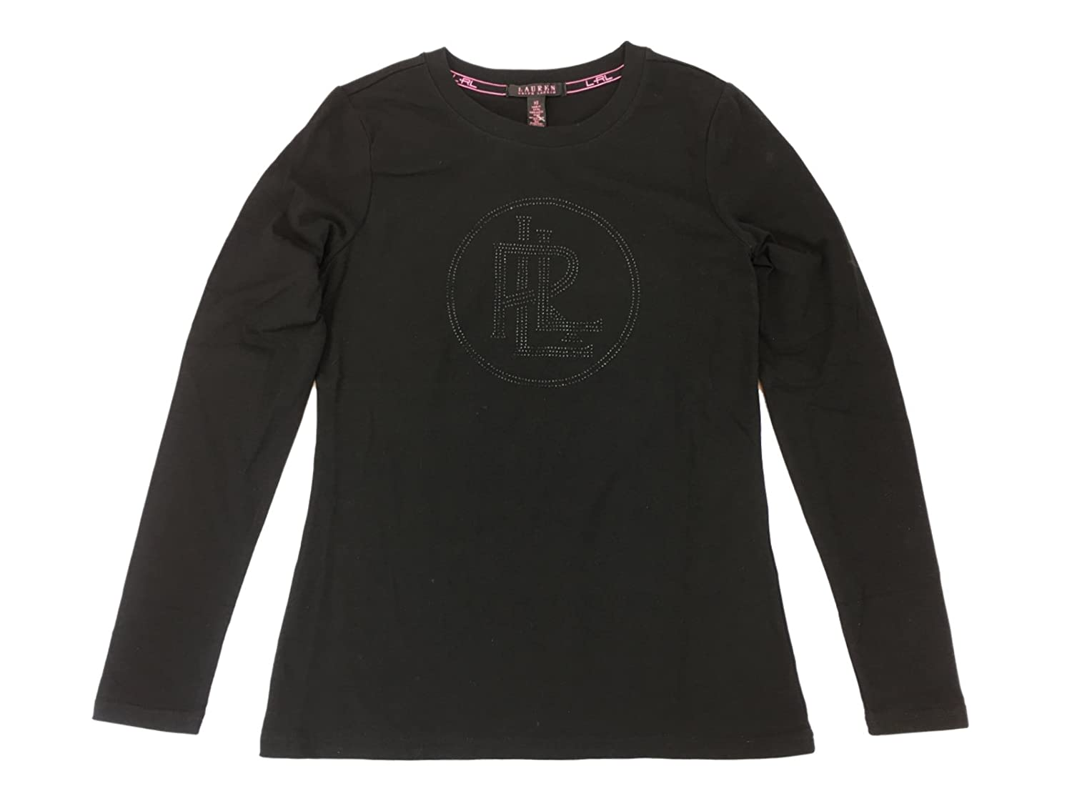 e0e792fea Top1  Lauren by Ralph Lauren Women s Lauren Pink Long Sleeve Tonal Bling  Logo Shirt