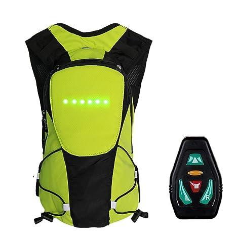 StageOnline Mochila para Bicicleta con LED Indicador de dirección con Control Remoto inalámbrico Mochila Reflectante, Ideal para la Noche de Seguridad ...