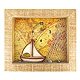 Vintage 13.6×11.6 Inches Rome Sail Voyage Framed Wall ART for Home Decor,CLOCK IS NOT WORKING