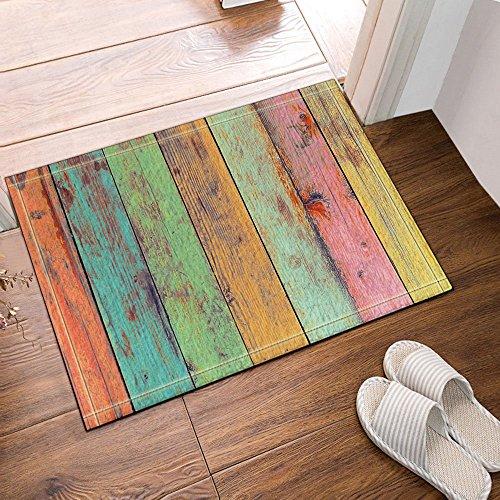 Vintage Wallpaper colorful Artwork Painted on Wood Bath Rug, Non-Slip Floor Entryways Outdoor Indoor Front Door Mat23.6
