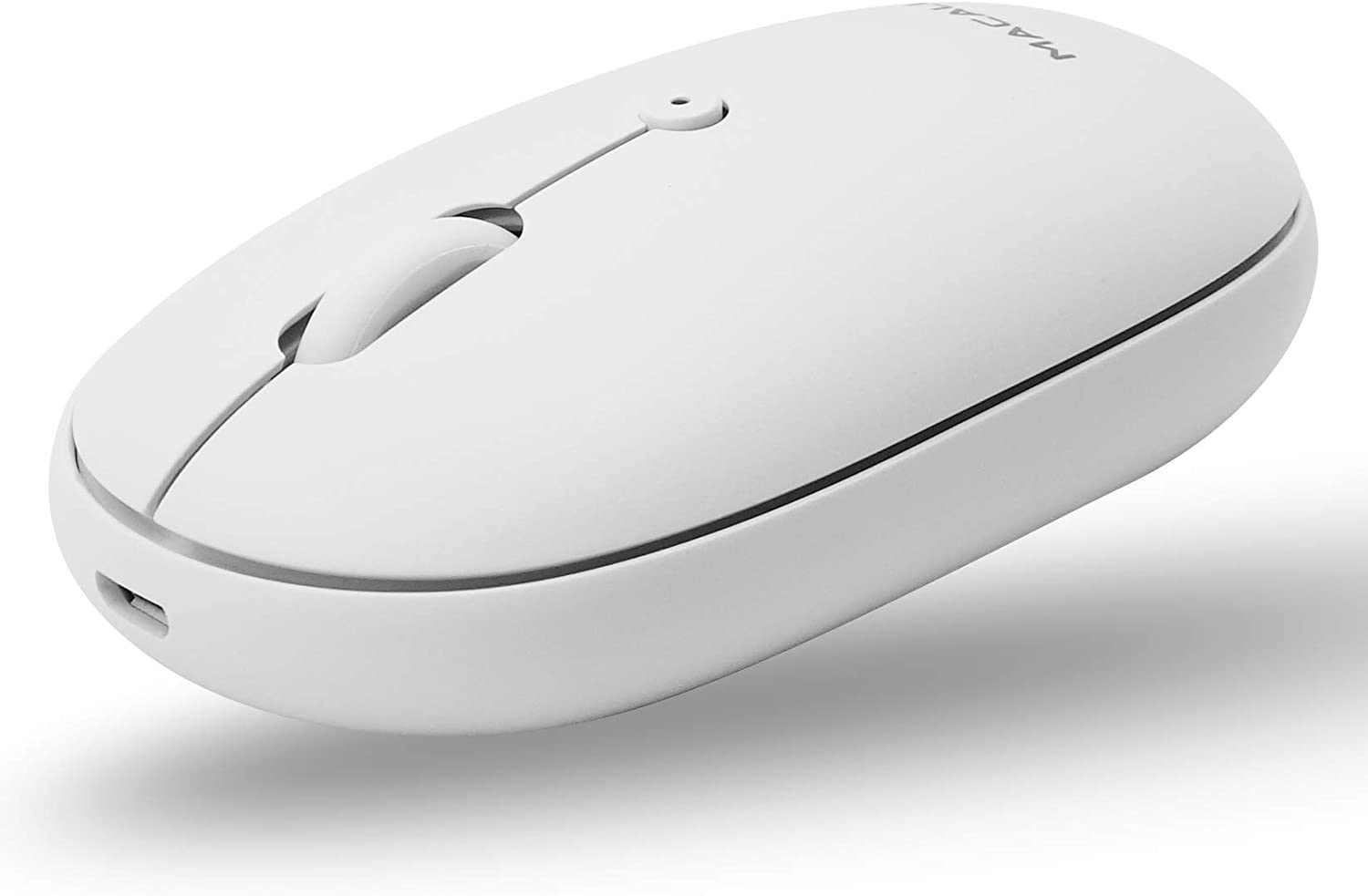 Macally Wireless Bluetooth Mouse Rechargeable - Simple Workspace Necessity - Quiet Click Buttons, 300mAh Battery, and Charging Cable - Silent Wireless Mouse for Mac |PC|iOS|Android - DPI 800/1200/1600