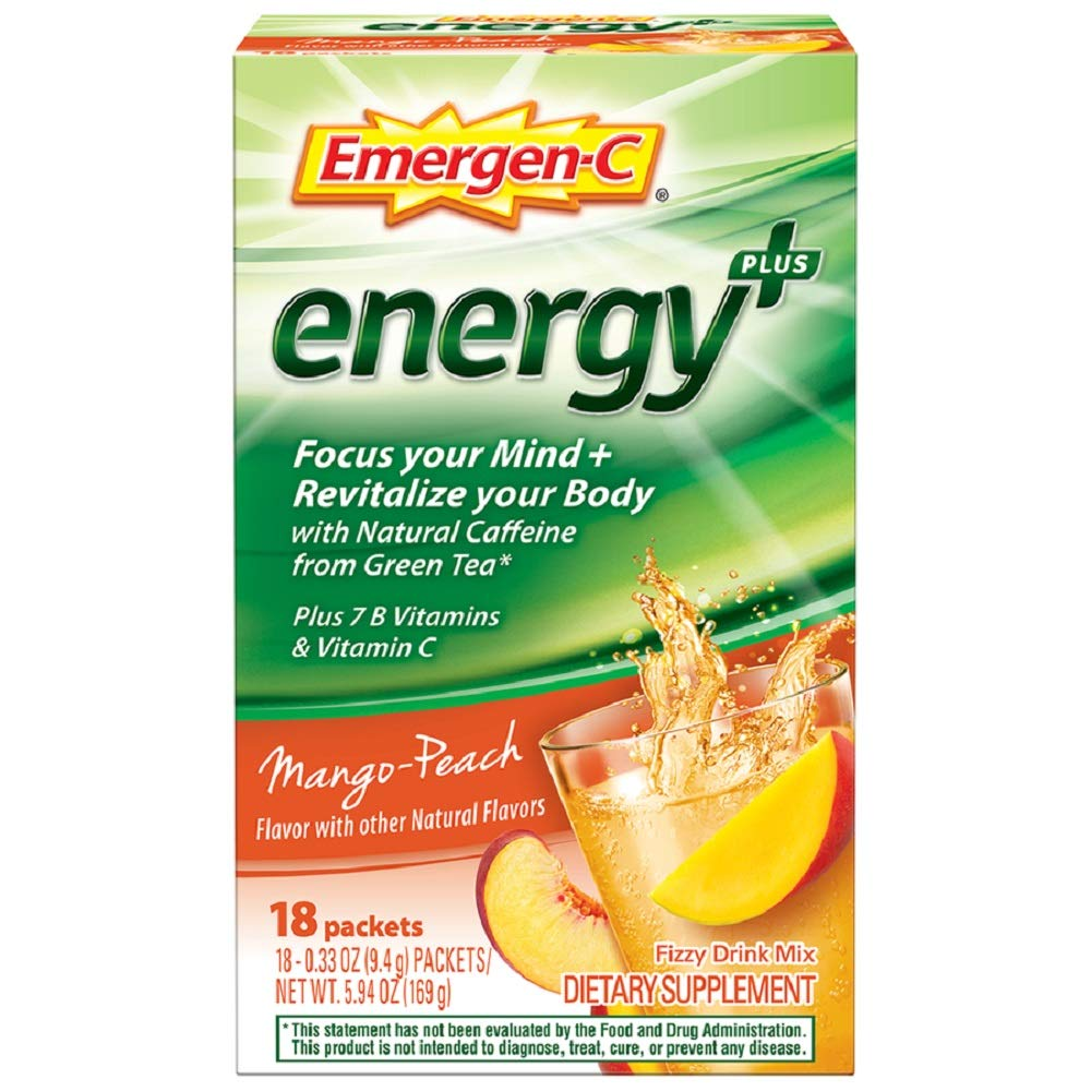 Emergen-C Energy+, with B Vitamins, Vitamin C and Natural Caffeine from Green Tea (18 Count, Mango Peach Flavor) Dietary Supplement Drink Mix, 0.33 Ounce Powder Packets