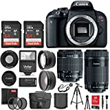 Canon EOS Rebel T7i Digital SLR Camera + EF-S 18-55mm IS STM Lens + EF-S 55-250mm IS STM Lens + Wide Angle Lens & 2X Telephoto Lens + 128GB Memory Card + Quality Tripod + Complete Accessory Bundle