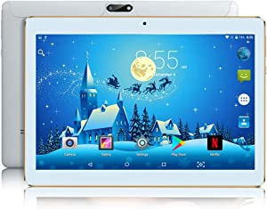 10 inch Android Tablet 4GB RAM 64GB ROM Octa Core with Dual Sim Card Slots - YELLYOUTH 3G Unlocked GSM Phone Tablets with WiFi Bluetooth GPS (White)