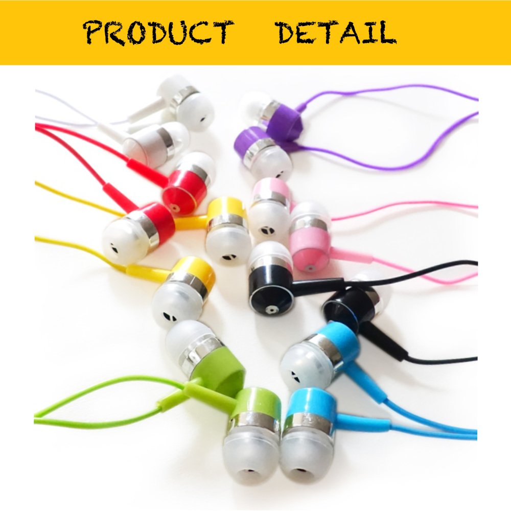 Life.Idea 3.5mm Color Earphones - Package of 10 Pairs, 8 Different Colors, Metal Like Earbuds, Cool and Stylish, Wholesale Bundle, Wide Compatibility (8 Colors/10 pcs) by LifeIdea (Image #2)