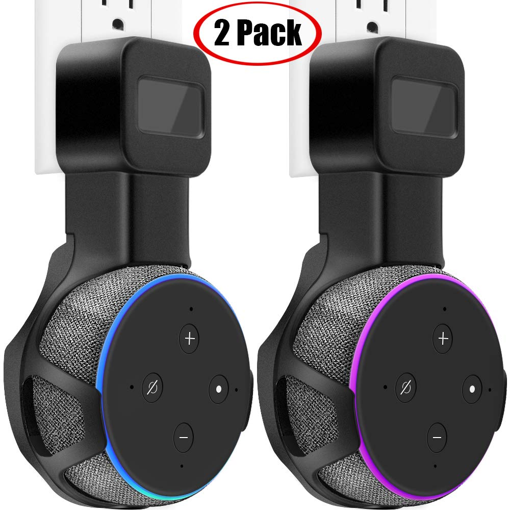 TOOVREN Upgraded Outlet Wall Mount Holder Stand for Dot 3rd Generation & Mi Ai (No Muffled Sound) Space-Saving Accessories for Your Smart Home Speakers Without Mess Wires or Screws (2 Pack)