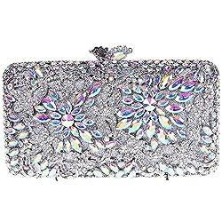 Fawziya Flower Clutch Purse Luxury Women Crystal Evening Clutch Bags-Black