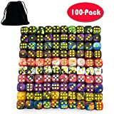 Smartdealspro 100-Pack Two Color 12mm Round Angle Six Sided Dice Die with Free Pouch for Tenzi, Farkle, Yahtzee, Bunco or Teaching Math