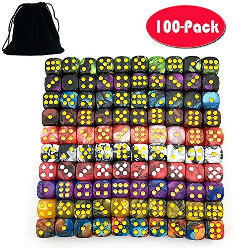 12 Dice - Smartdealspro 100-Pack Two Color 12mm Round Angle Six Sided Dice Die with Free Pouch for Tenzi, Farkle, Yahtzee, Bunco or Teaching Math