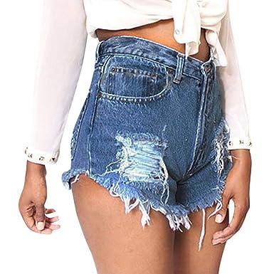 4d016ae5a6259f Fathoit Jupe Jeans Femme Femmes Bleu Denim Jeans Solide Casual Hole ...
