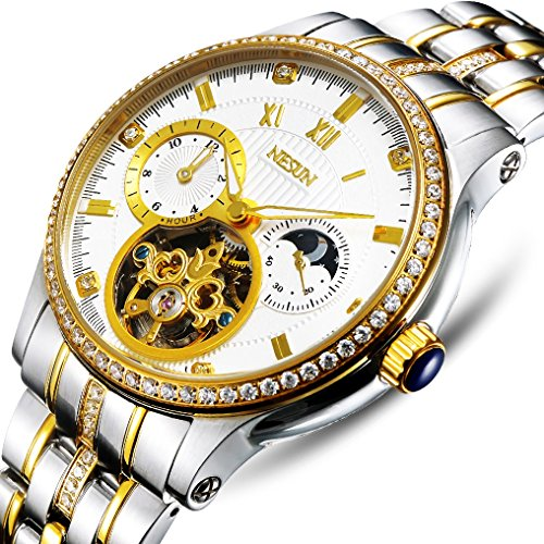 Mens 18k Gold Automatic Wrist Watches Rhinestones-Accented Luminous Chronograph Watch (Gold-White)
