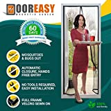 DOOREASY Magnetic Screen Door Hands Free Instant Screen,Micro Mesh, 32 Heavy Magnets, Loop Fully Sewn Easy Screen(Fits Doors Up To 70' x 95')