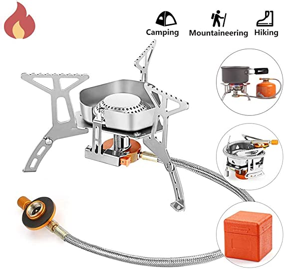 Estufa de Camping, Estufa de Gas Portátil para a Campar a Prueba de Viento, 3500 W con Convertidor de Adaptador para Picnic al Aire Libre, Acampada, ...