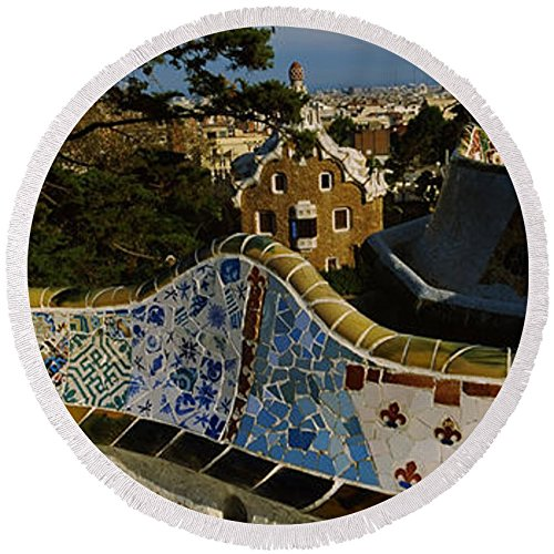 Pixels Round Beach Towel With Tassels featuring ''High Angle View Of A City, Parc Guell'' by Pixels by Pixels