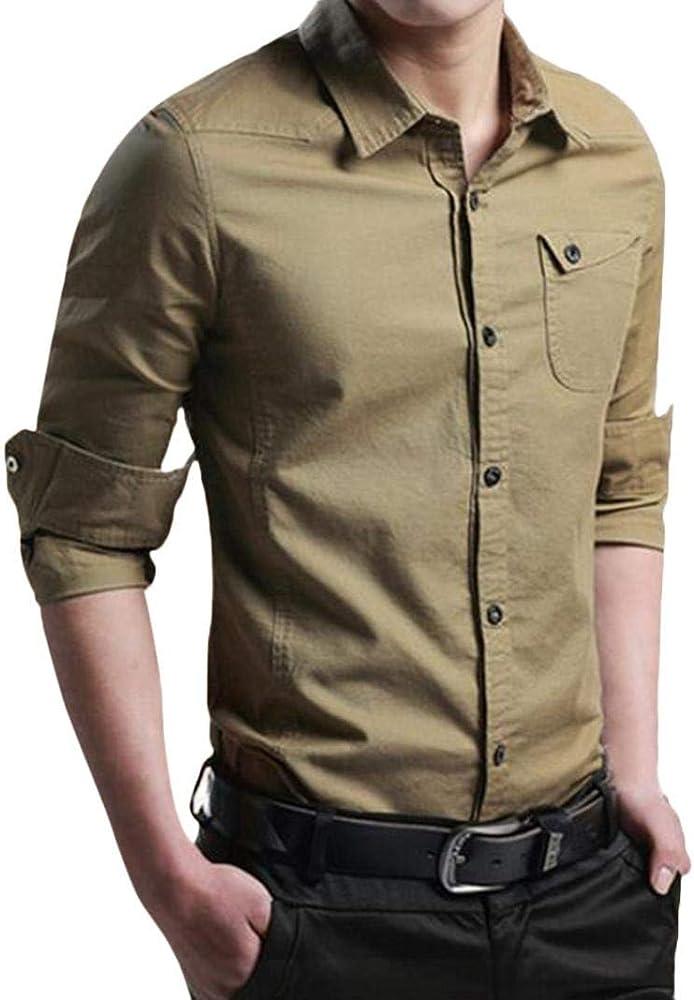 Hffan Camisa De Hombre Slim Fit Fashion Tool con Cuello Camisa Tops Top Negro Azul Oscuro Traje De Color Khaki Boda De Negocios Camisas De Ocio Súper (Color : Khaki, Size :