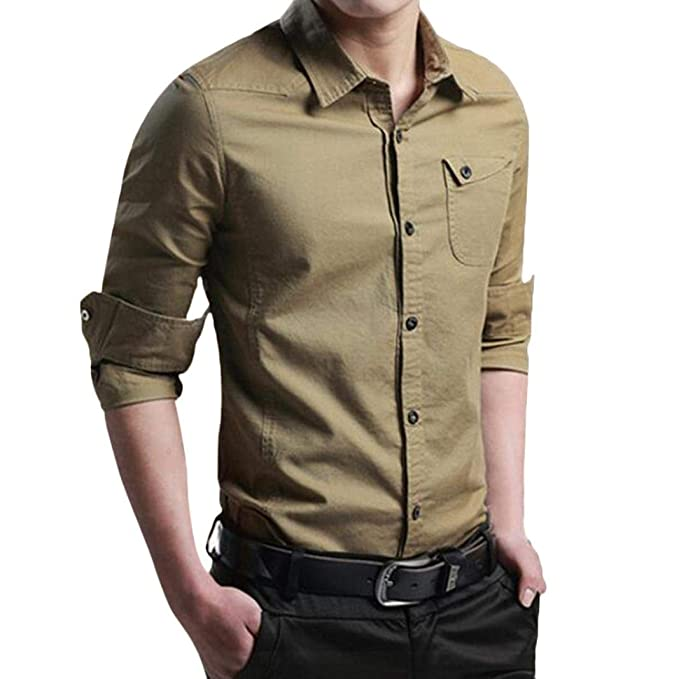 Hffan Camisa De Hombre Slim Fit Fashion Tool con Ropa Cuello ...