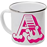 Vintage Pink Letter, Alphabet, Initial Hers White Enamel Tea Coffee Mug Cup Camping Picnic Travel ** All Letters Available**