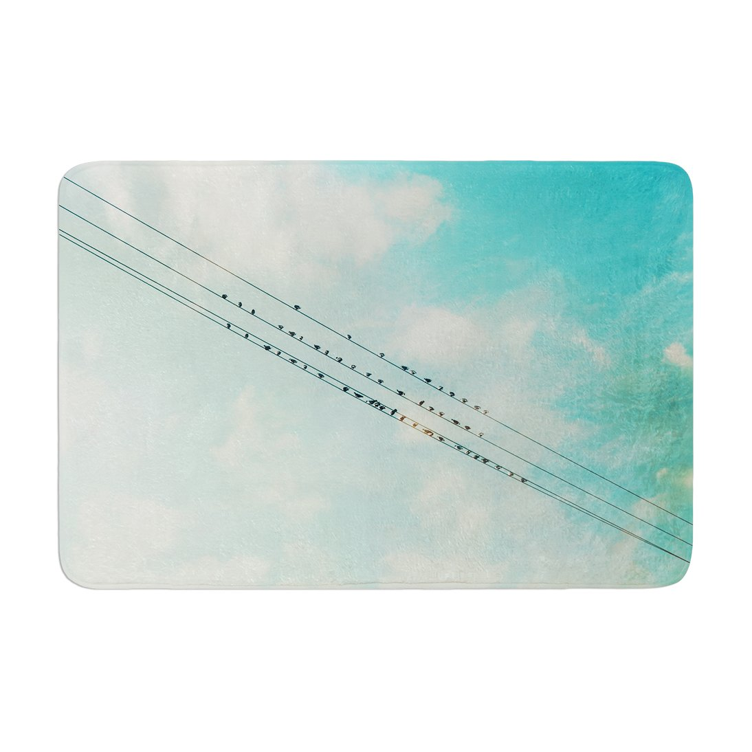 17 by 24 Kess InHouse Sylvia Cook Birds on Wires Teal Sky Memory Foam Bath Mat