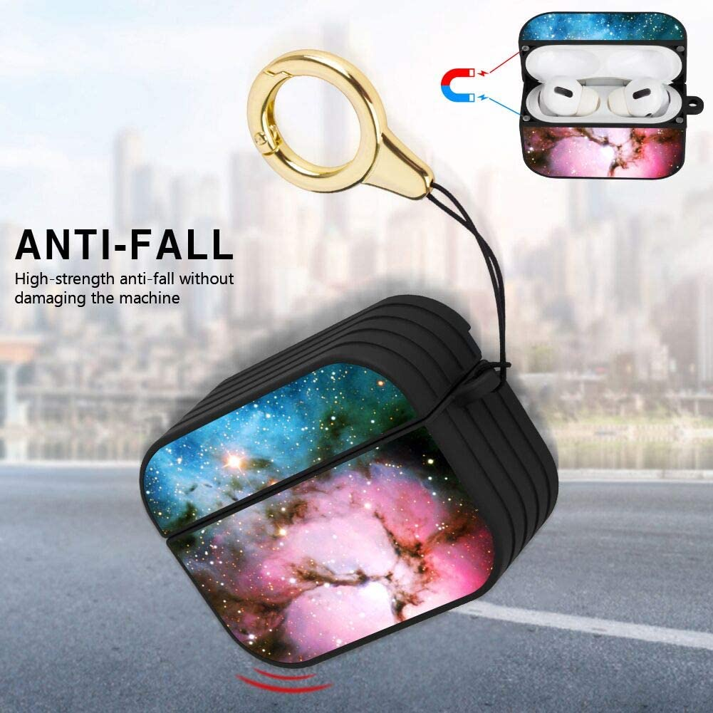 Compatible with AirPods Pro Panda Love Striated Airpods Pro Case Shock-Resistant and Waterproof Cover with Magnet Lock and Ring Black