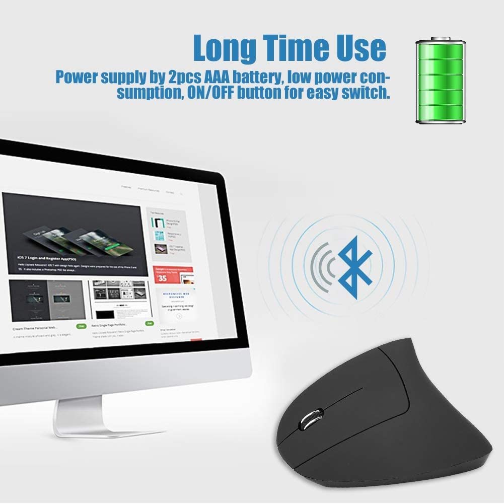 Wireless Vertical Mouse Optical 1600DPI Wireless Ergonomic Vertical Gaming Mouse Non-delay for PC//Laptop Black