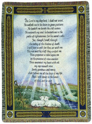 Psalm Throw - Manual 50 x 60-Inch Tapestry Throw, 23rd Psalm The Lord Is My Shepherd
