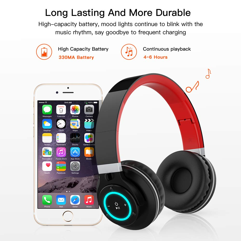Ranipobo Bluetooth Headphones Over Ear, Hi-Fi Stereo Wireless Headset with 7 Colors Lights, Foldable Adjustable, Soft Memory-Protein Earmuffs, Built-in Mic and Wired Mode for PC/Cell Phones/TV