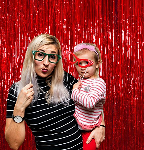 4th Of July Pack of 4 Red Foil Tinsel Fringe Curtains 3 x 8 Feet Photo Booth Props for Birthday Bachelorette Wedding Engagement Baby Shower Graduation Retirement Party Decorations -