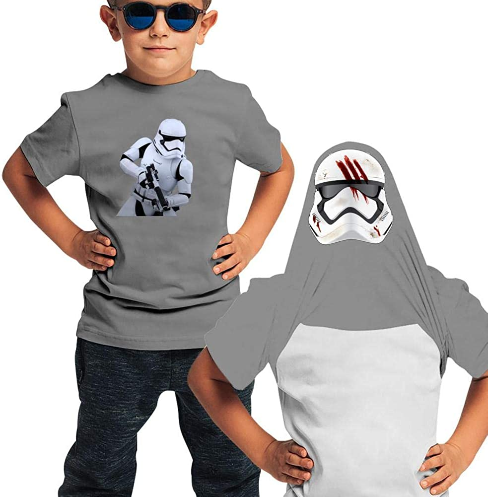KAWDIS Storm-Troopers Basic Daily Wear Cotton Graphic Double Sided T Shirts for Girls and Boys