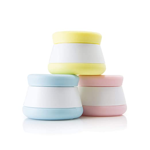 Travel Containers, Silicone Cosmetic Cream Jars - NEW DESIGN -Leak-proof, TSA Size for Toiletries (3-Jar Pack)