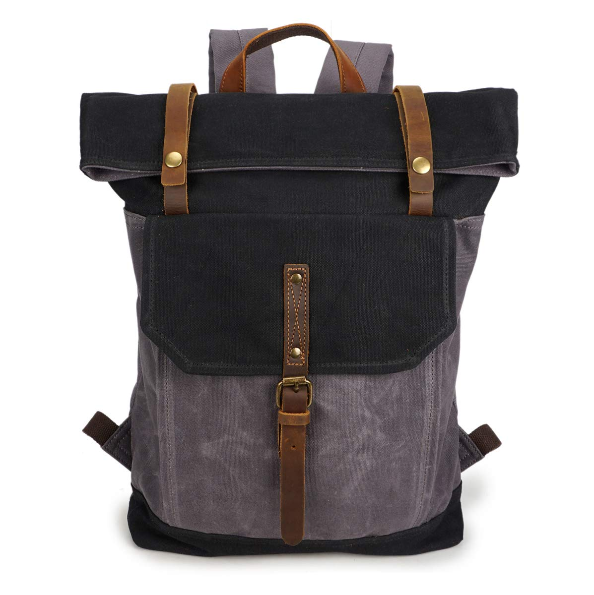 d724e9fe45ff Amazon.com: VICROAD Vintage Canvas Backpack, Leather Travel Bag for ...