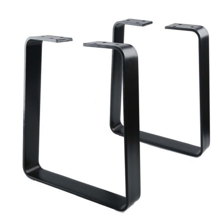 USA Premium Store 2Pcs16'' Coffee Black Table Bench Trapezoid Legs DIY Industrial Metal Vintage