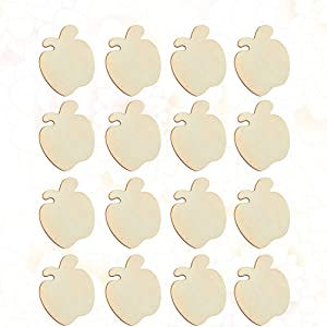 LIOOBO 60pcs Unfinished Wooden Apple Cutouts Christmas Wood Slices Pieces Natural Wooden Blanks for DIY Craft Painting Coasters
