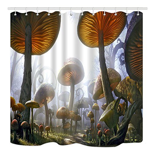 DYNH Fantasy Mushrooms Shower Curtain, Magic Nature Forest Plants, Mildew Resistant Waterproof Polyester Fabric Bathroom Decor, Bath Curtains Accessories, with Hooks, 69X70 Inches ()