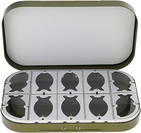 D DOLITY Caja de pesca con mosca de aleación de aluminio, 10 ventanas transparentes, verde: Amazon.es: Deportes y aire libre