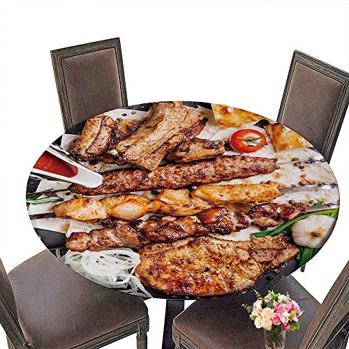 PINAFORE Luxury Round Table Cloth for Home use Healthy Barbecue Different Meat with vege and Sauce Served with a Black Plate Closeup View for Buffet Table, Holiday Dinner 55