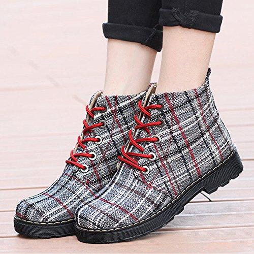 Ankle Round Combat Women's Lace Boots Toe Plaid Booties Plaid Canvas up fereshte Red fOgZAqzcA