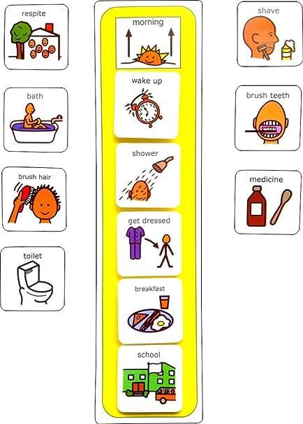 amazon com plastic visual asd morning routine picture