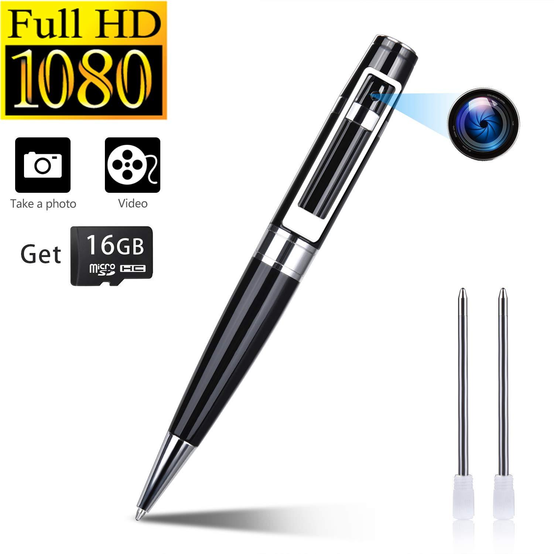 Spy Camera Pen Hidden Cameras Portable Video Recorder Mini DVR Meeting Pens Body Cam Built-in 16G Micro SD Card by Facamword