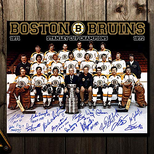 1972 Boston Bruins Stanley Cup Champions Team Autographed 16x20 Signed by 14