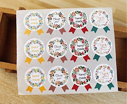 Efivs Arts 120 Pcs Thank You Handmade Party Favor Label Stickers – Party Stickers for Wedding, Anniversary, Birthday, Baby Shower (5)