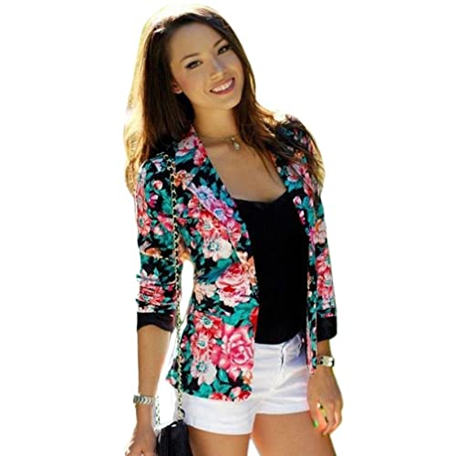 FEITONG Las mujeres de manga larga floral Delgado Traje chaqueta Capa de la chaqueta Outwear